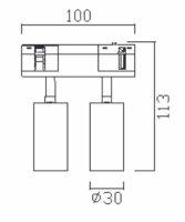 Imperialux Typ 48V System Spot Mini Doppel-Leuchte 14,5W