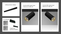 Komplettsystem sxhwarz // 1 Meter Aufbauschiene // 2 x...
